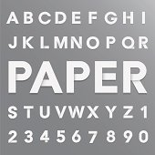 White paper alphabet with shadow.
