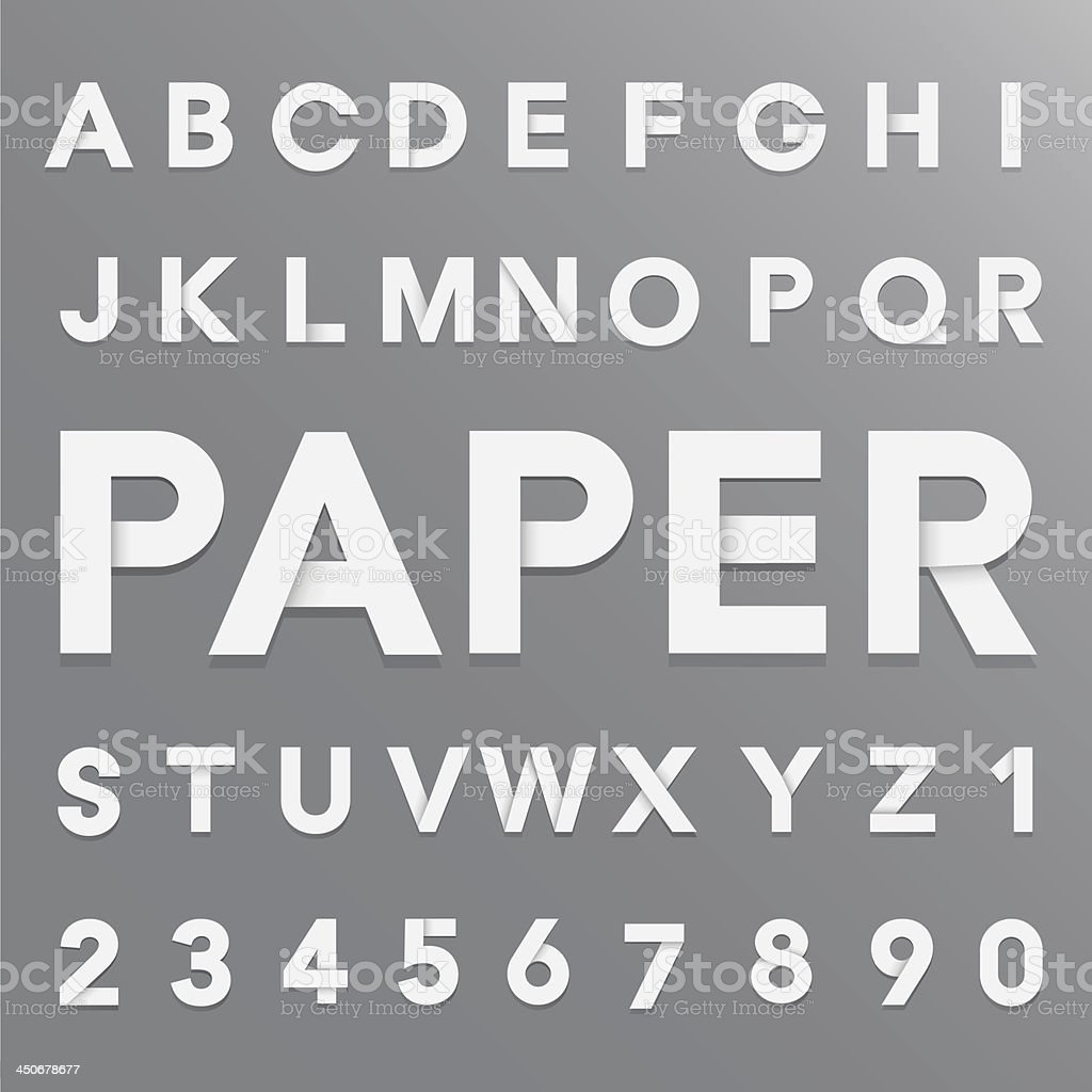 White paper alphabet with shadow. vector art illustration