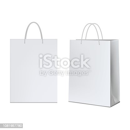 istock White paper bag, isolated on white background. 1081957780