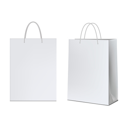 White paper bag, isolated on white background.