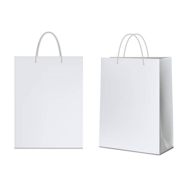 ilustrações de stock, clip art, desenhos animados e ícones de white paper bag, isolated on white background. - saco