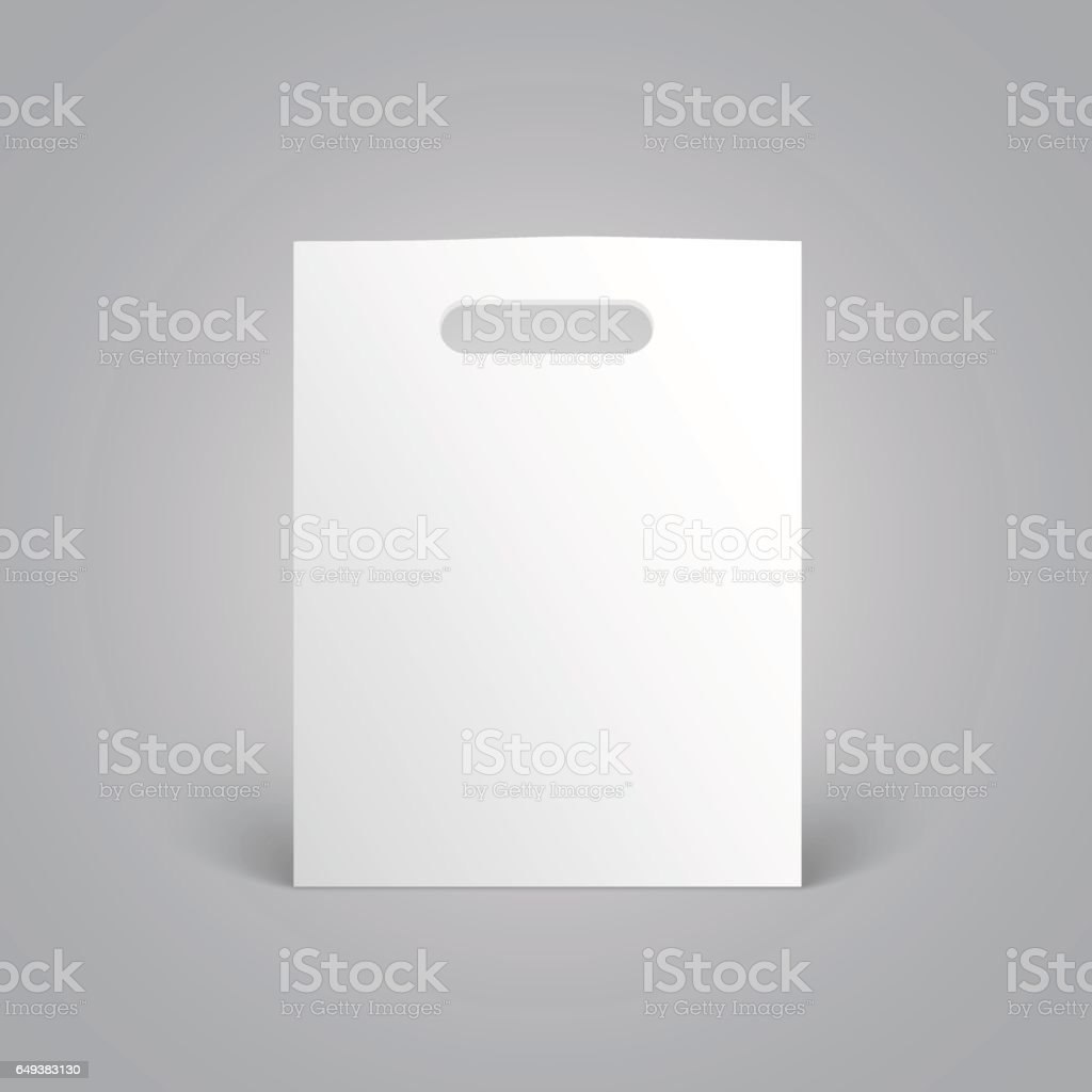 White paper bag mockup with handles on grey background vector art illustration