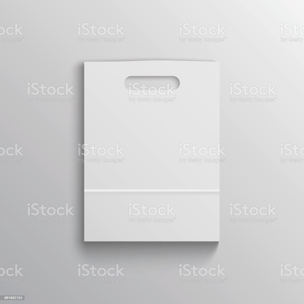 White paper bag mockup with handles vector art illustration