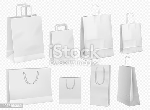 istock White paper bag template. Blank cardboard packet 1257450665