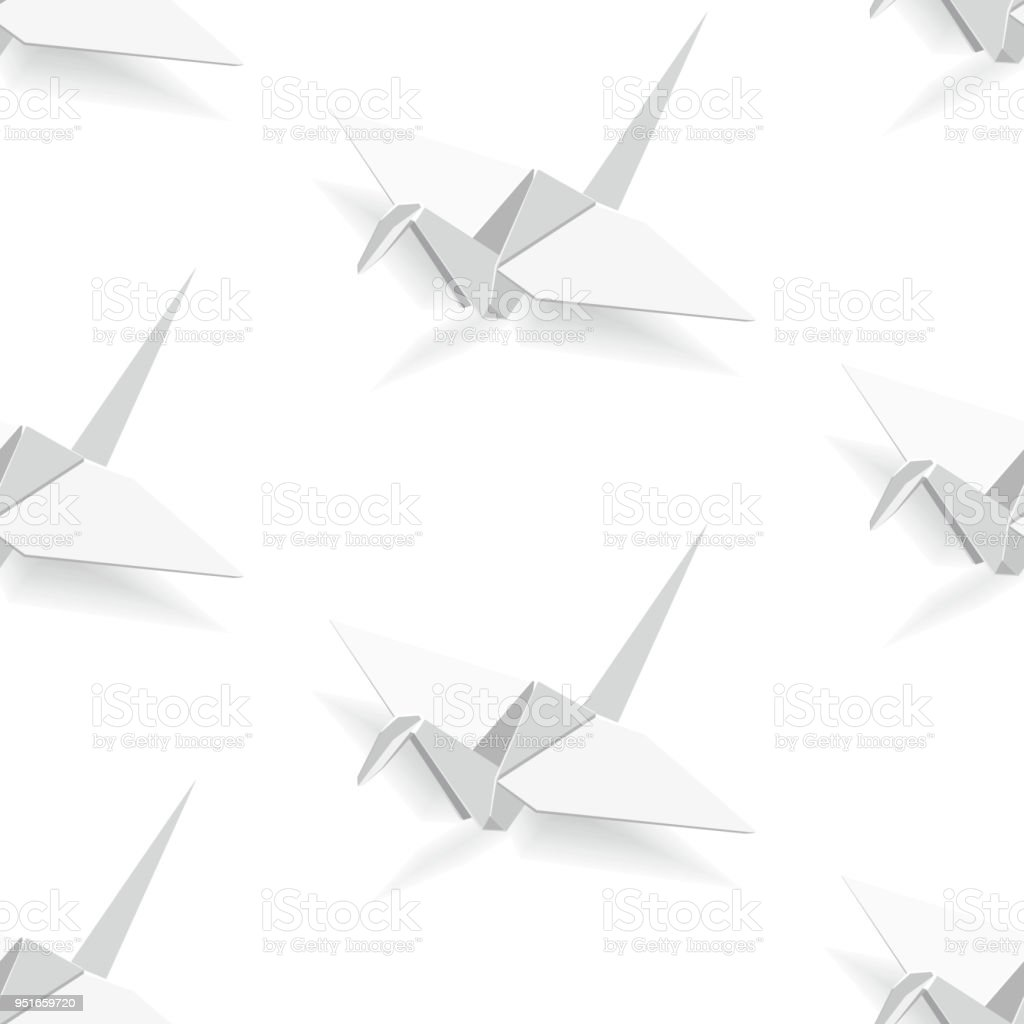 Japanese Traditional Origami Crane Seamless Pattern Vector Illustration Royalty