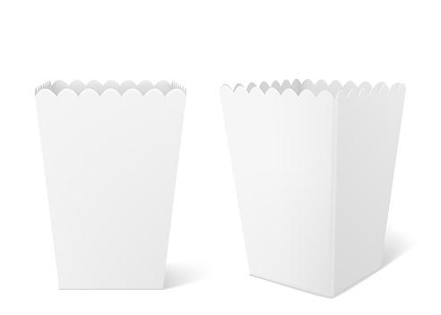 White paper box for popcorn in cinema