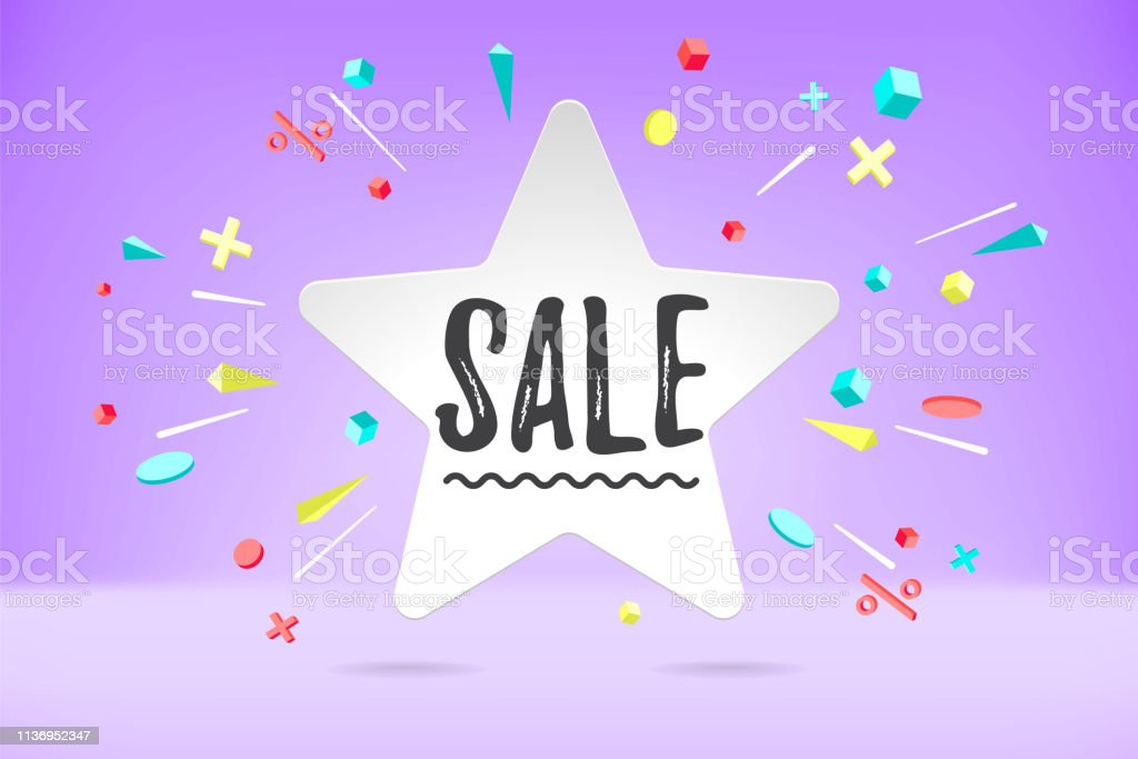 White Paper Bubble Cloud With Text Sale For Sale Shopping