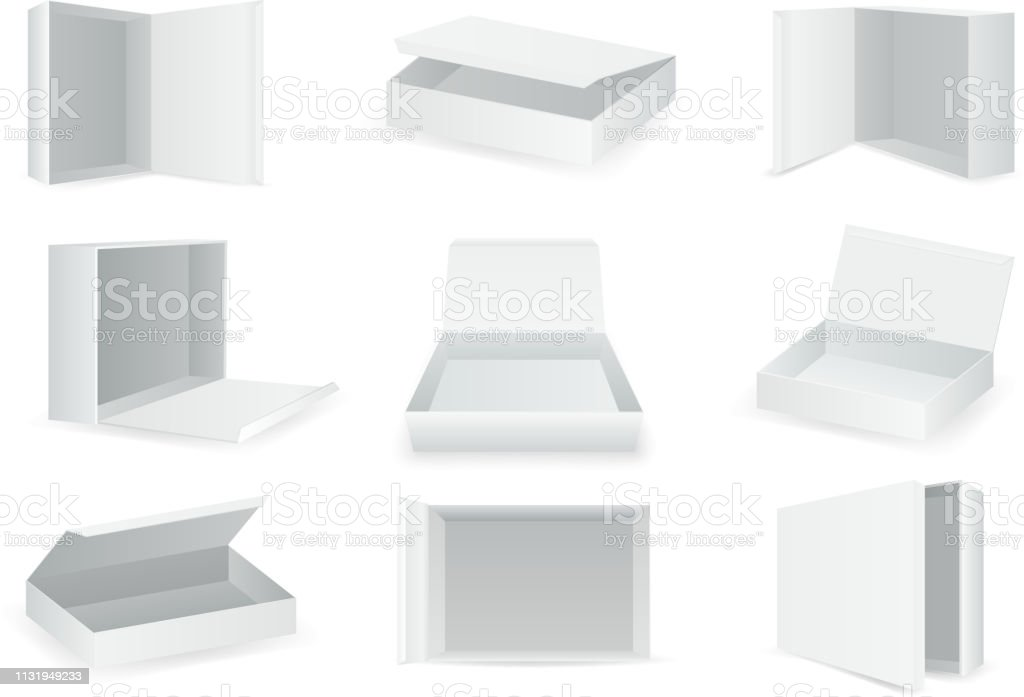 White paper cardboard package boxes isometric open empty pack box isolated icons set realistic template design vector illustration royalty-free white paper cardboard package boxes isometric open empty pack box isolated icons set realistic template design vector illustration stock illustration - download image now