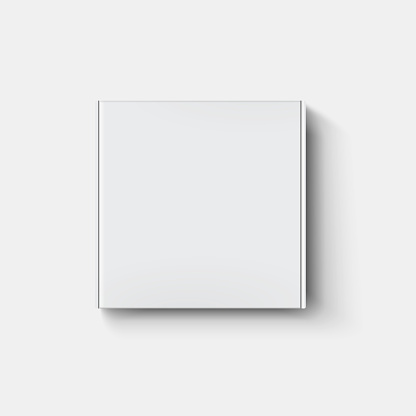 White paper cartboard box mock up in top view with shadow on transparent background.