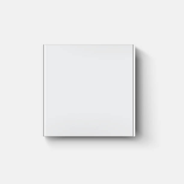 White paper cartboard box mock up in top view with shadow on transparent background. White paper cartboard box mock up in top view with shadow on transparent background. white color stock illustrations