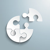 White paper circle puzzle on the grey background. Eps 10 vector file.