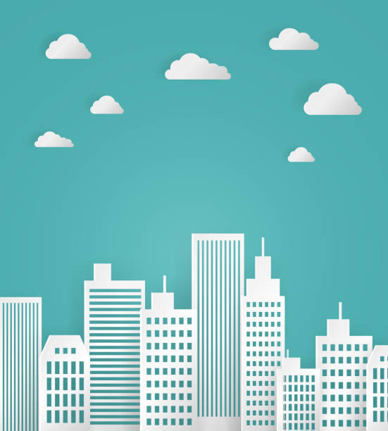 White Paper City vector art illustration