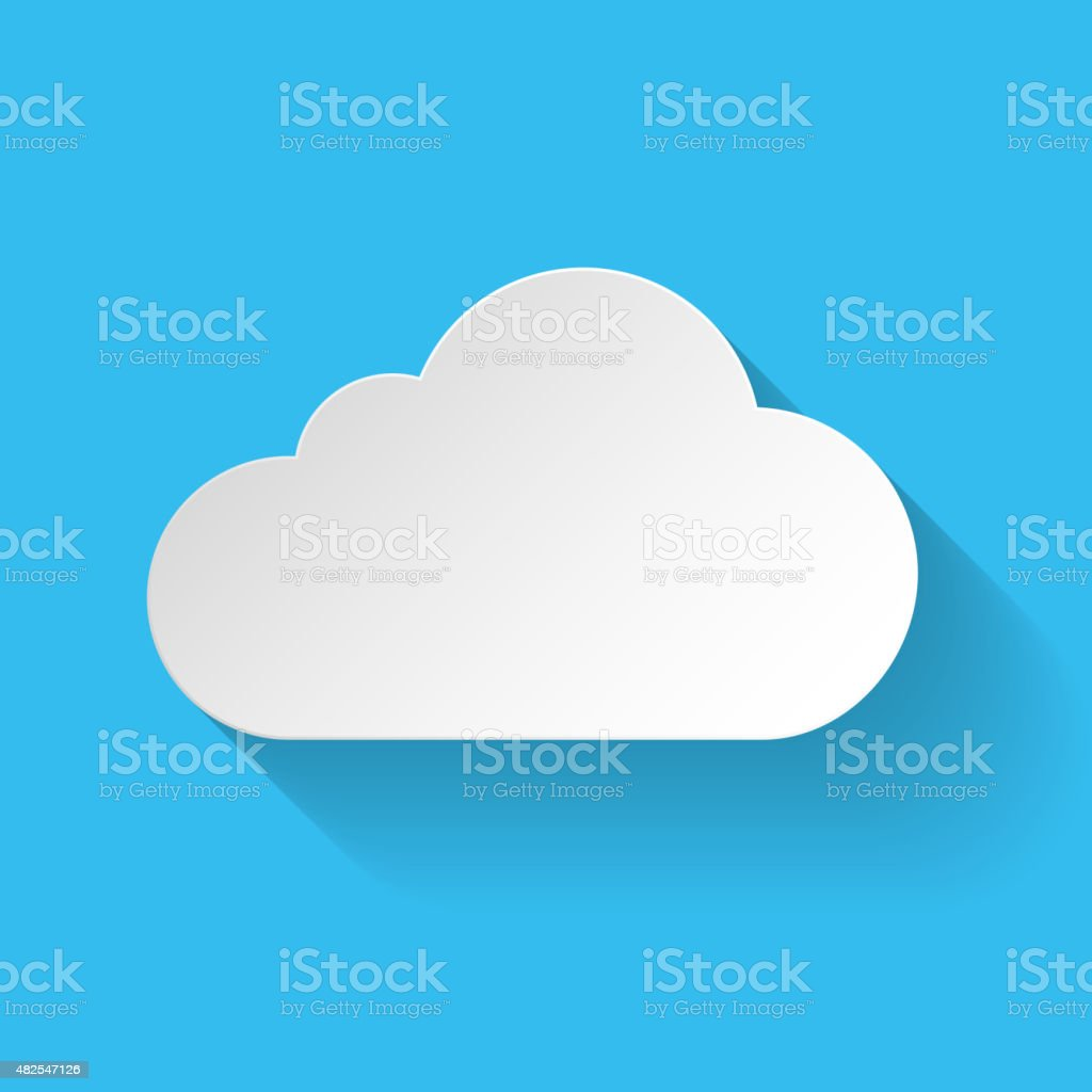 White paper cloud vector art illustration