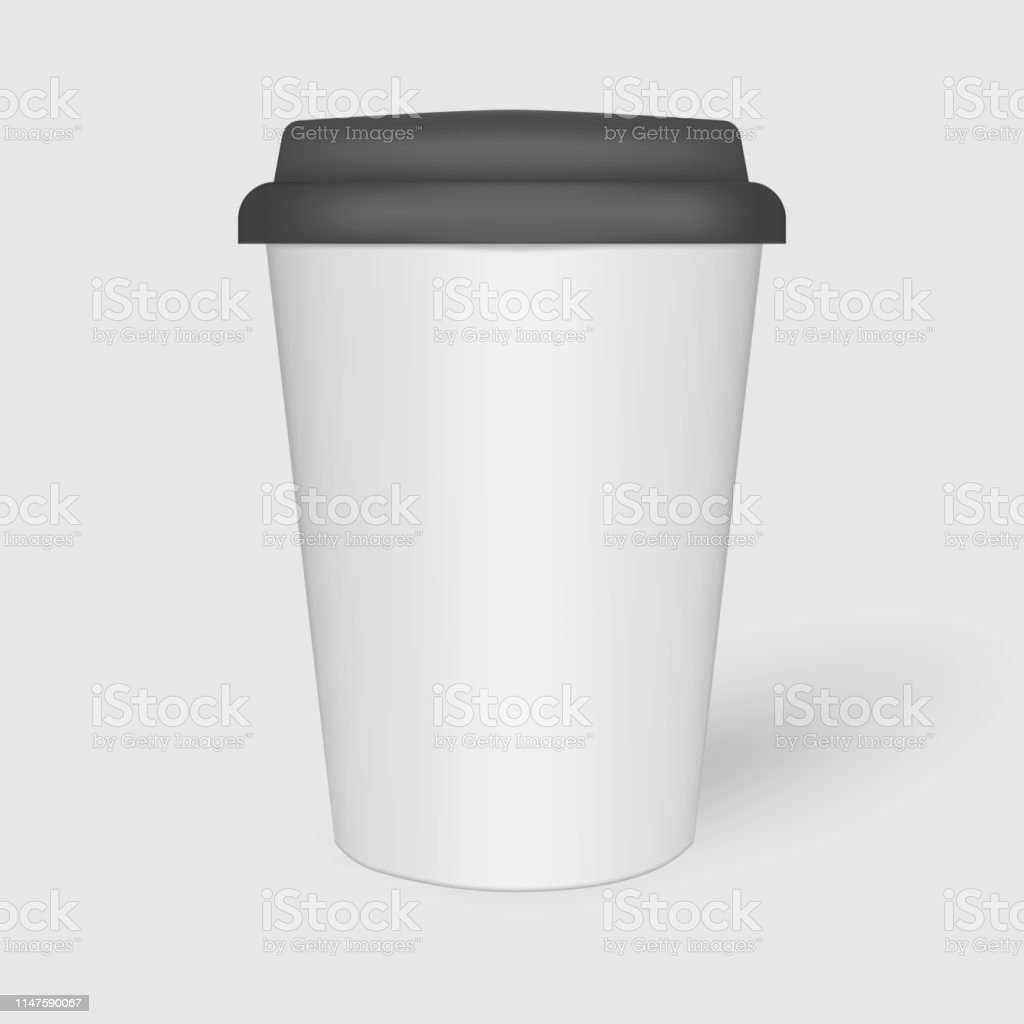White Paper Coffee Cup With Black Plastic Lid Mockup Travel