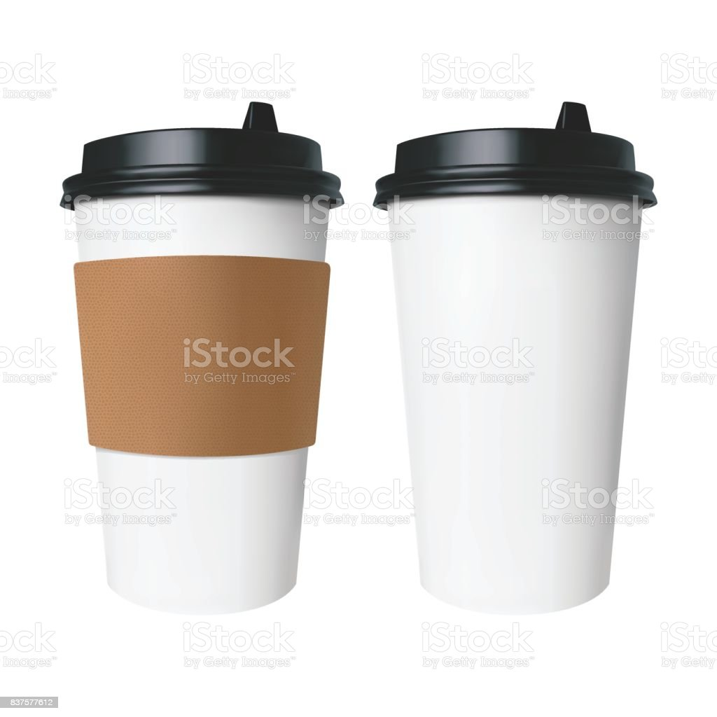 White paper Cup with a brown cover with label and without label. Isolated vector cup for hot drinks like coffee and tea. - Royalty-free Blank stock vector