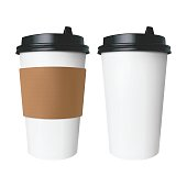 White paper Cup for hot drinks like coffee and tea with a brown cover with label and without label.