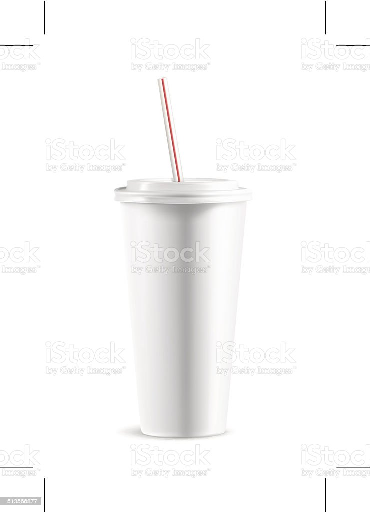 White paper cup with lid vector art illustration