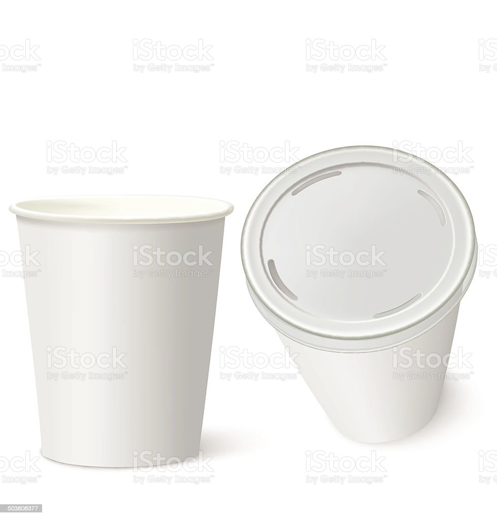White Paper Cups isolated on white. Vector illustration royalty-free white paper cups isolated on white vector illustration stock vector art & more images of blank