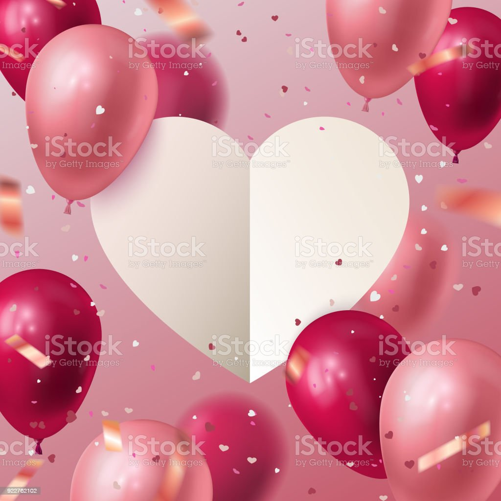 White Paper Cut Heart With Flying Balloons And Confetti Particles ...