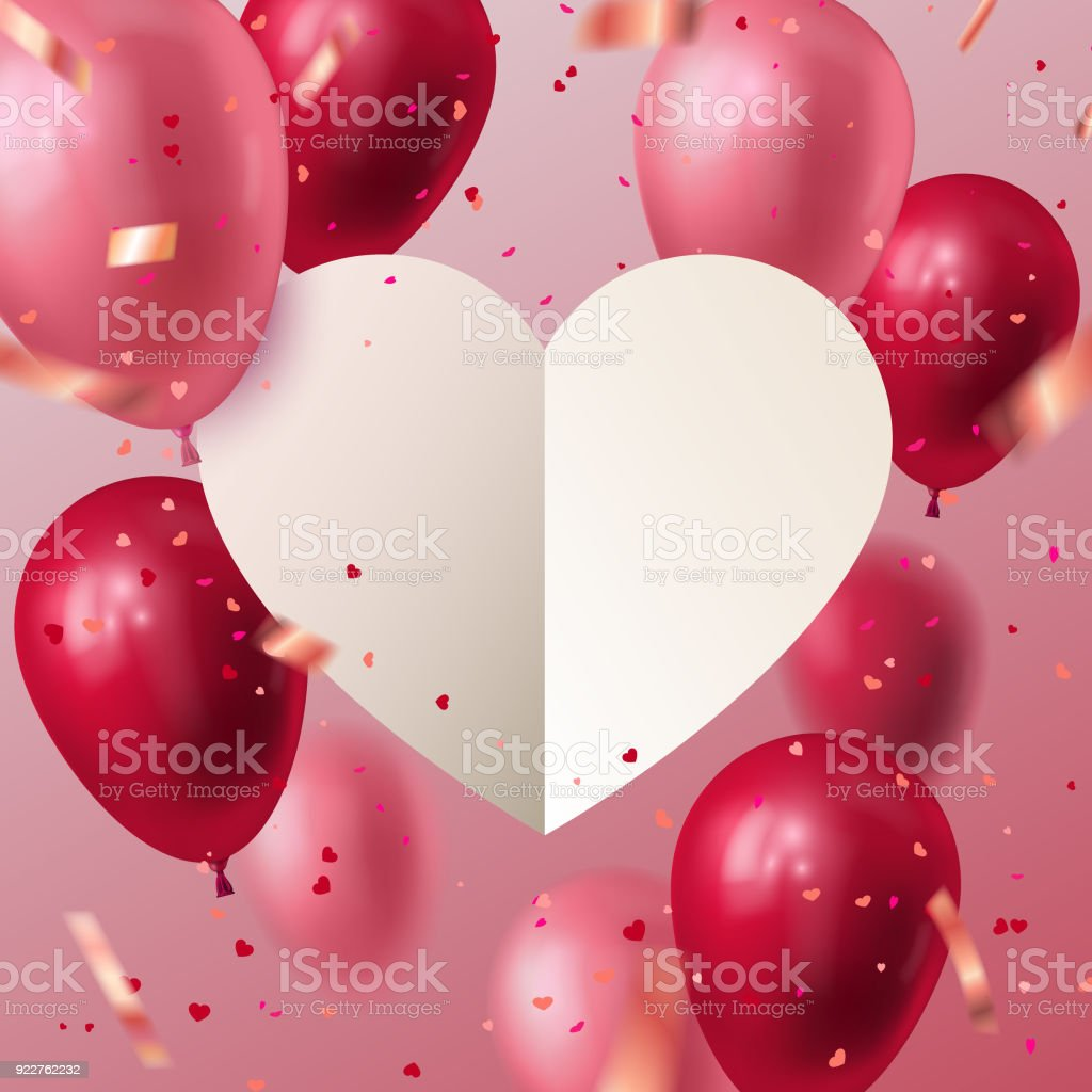 White Paper Cut Heart With Flying Balloons And Confetti Particles
