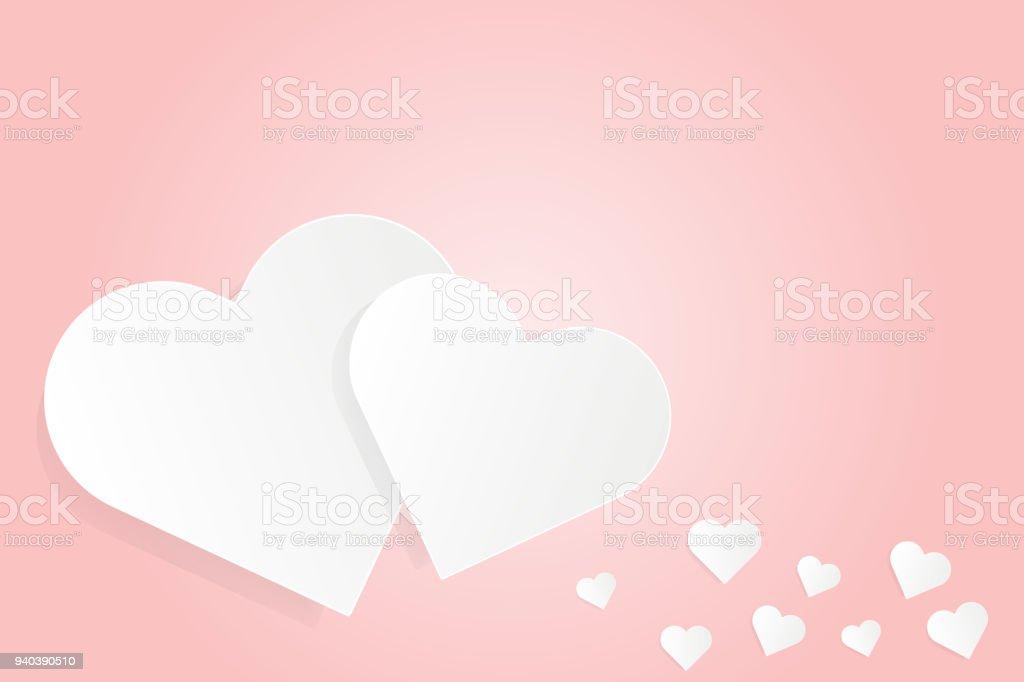 White Paper Cut Liebe Herz Auf Rosa ...