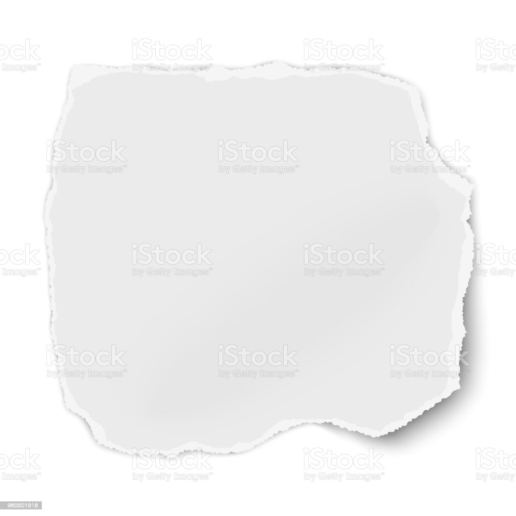 White paper fragment with torn edges for memo with soft shadow isolated on white background. Vector template paper design. vector art illustration