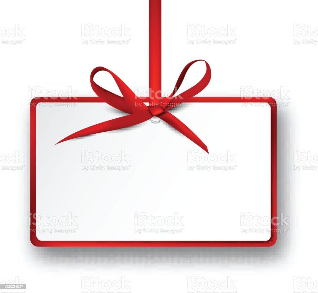 cartecadeau livre blanc avec noeud satin rouge stock vecteur libres de droits 526234637 istock. Black Bedroom Furniture Sets. Home Design Ideas