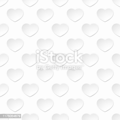 A white paper heart pattern seamless valentines day background