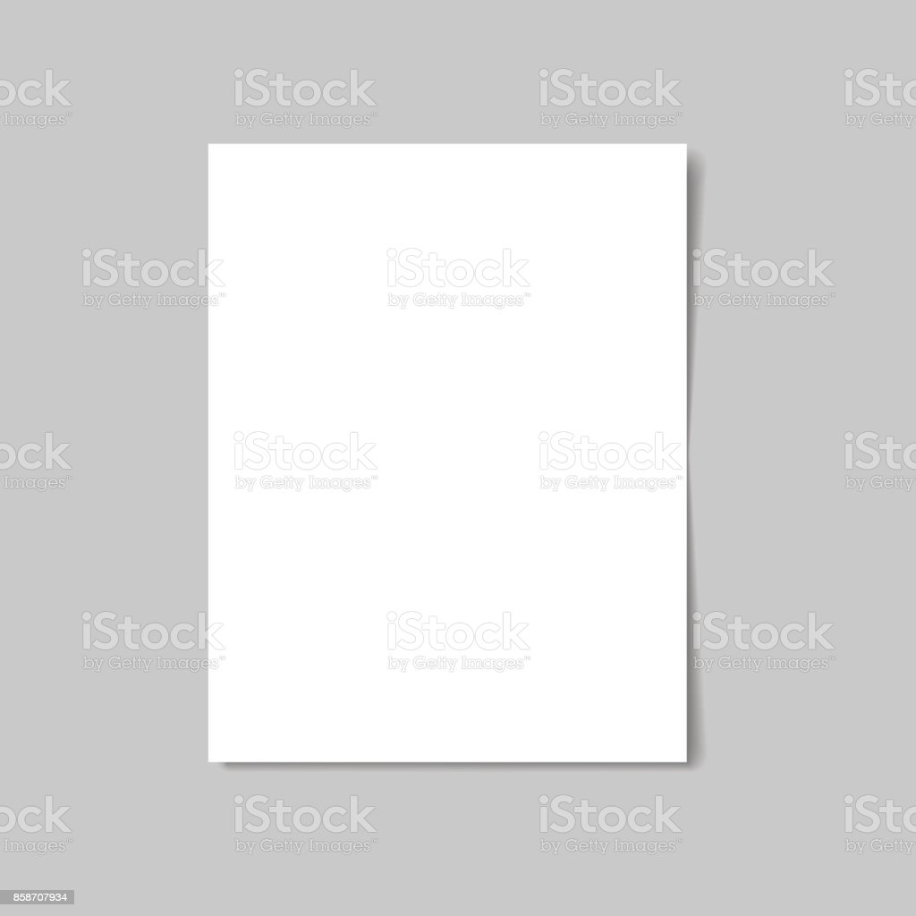 White paper isolated with soft shadow on white background. Vector illustration