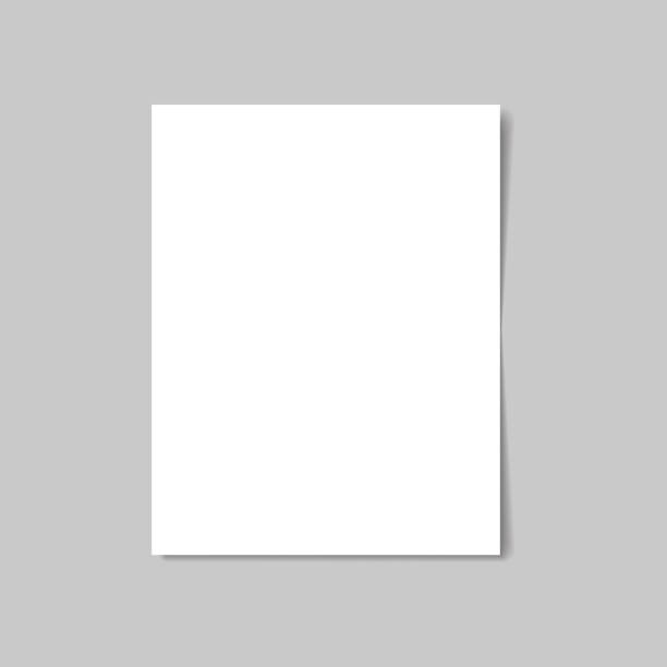 white paper isolated with soft shadow on white background. vector illustration - pustka stock illustrations