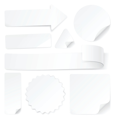 White Paper Labels Stamps and Stickers