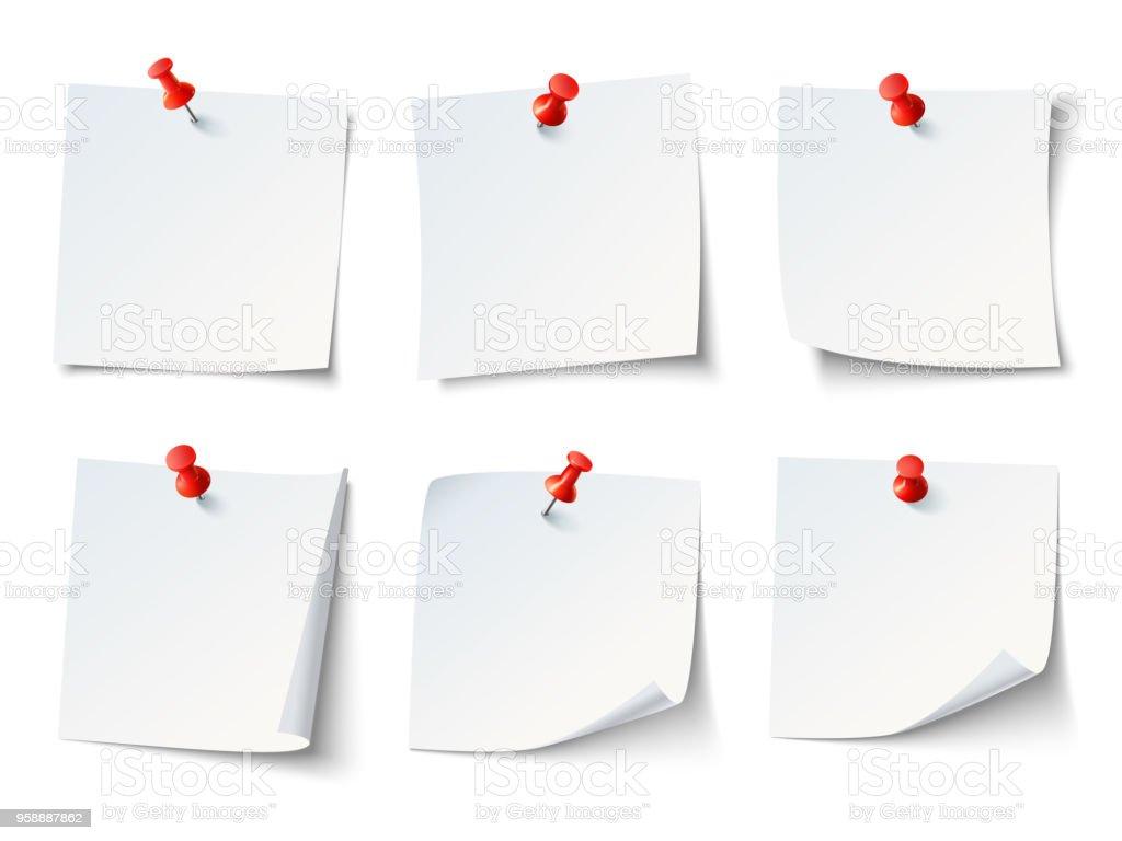 Notas do livro branco sobre Percevejo vermelho. Adesivo de nota vista superior com pinos vetor definido vetores de notas do livro branco sobre percevejo vermelho adesivo de nota vista superior com pinos vetor definido e mais imagens de agenda pessoal royalty-free