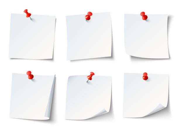white paper notes on red thumbtack. top view note sticker with pins vector set - notatka stock illustrations