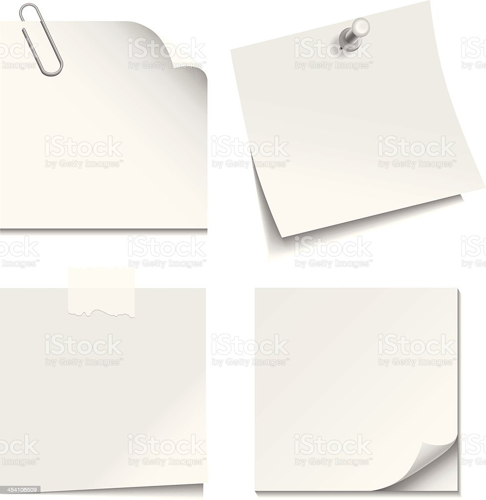 White Paper Notes vector art illustration