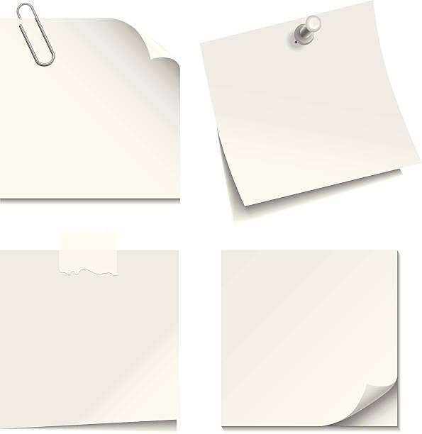 белая бумага для заметок - post it notes stock illustrations