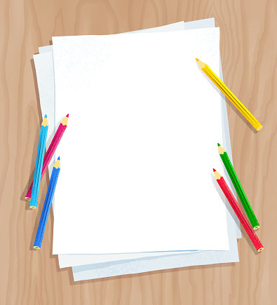 White paper on with color pencils