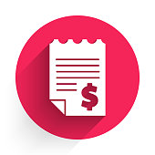 istock White Paper or financial check icon isolated with long shadow. Paper print check, shop receipt or bill. Red circle button. Vector Illustration 1224630183