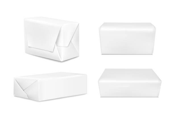 ilustrações de stock, clip art, desenhos animados e ícones de white paper or foil packaging for butter and  margarine. realistic vector image - manteiga
