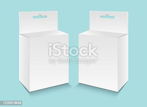 White paper packaging box with hanging hole vector, package design, 3d box, product design, realistic packaging for cosmetic, medical, food, paper boxes.