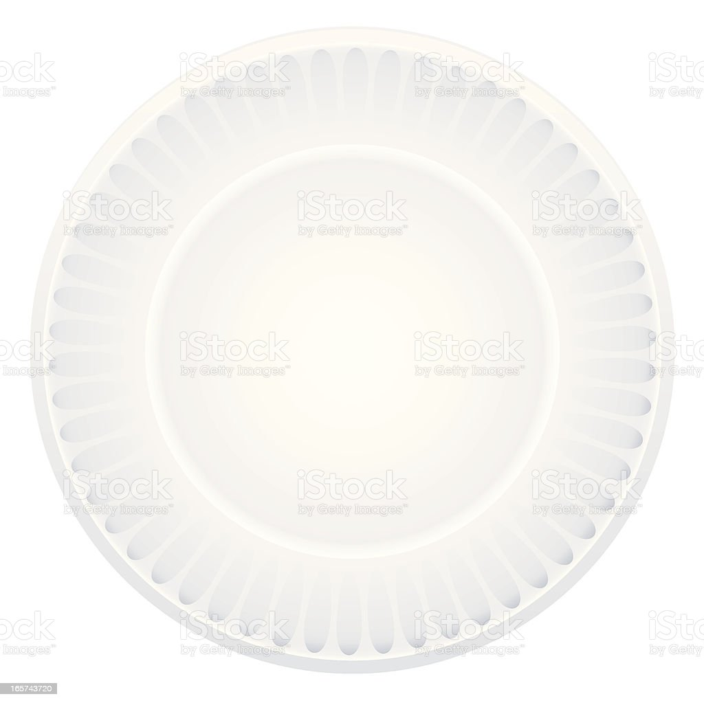 White paper plate against a white background royalty-free stock vector art