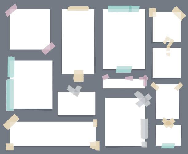 White paper sheets with scotch tape set – Vektorgrafik