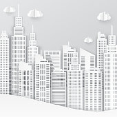 White paper skyscrapers. Achitectural building in panoramic view. Modern city skyline building industrial paper art landscape skyscraper offices. Vector Illustration
