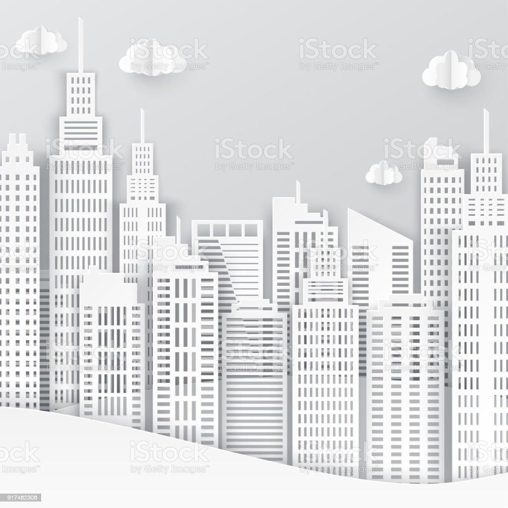 Livre blanc de gratte-ciel. Achitectural bâtiment en vue panoramique. Toits de la ville moderne bâtiment paysage art papier industriel bureaux de gratte-ciel. Illustration vectorielle - Illustration vectorielle