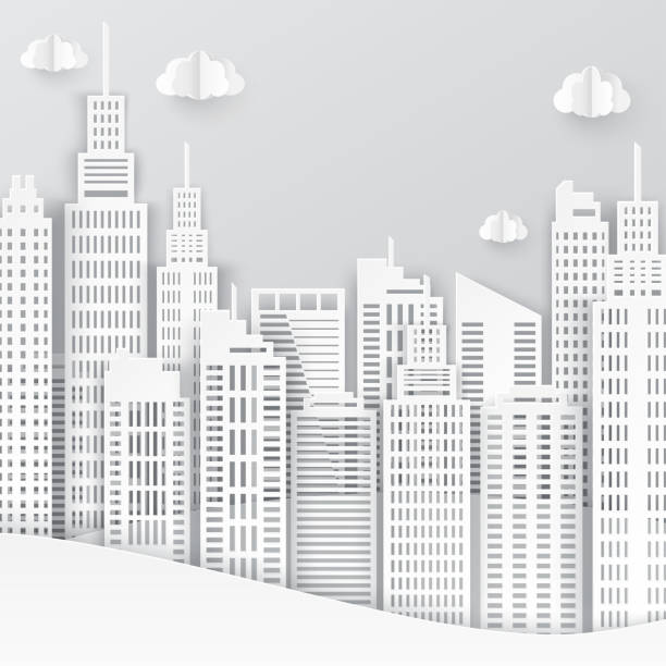 White paper skyscrapers. Achitectural building in panoramic view. Modern city skyline building industrial paper art landscape skyscraper offices. Vector Illustration vector art illustration