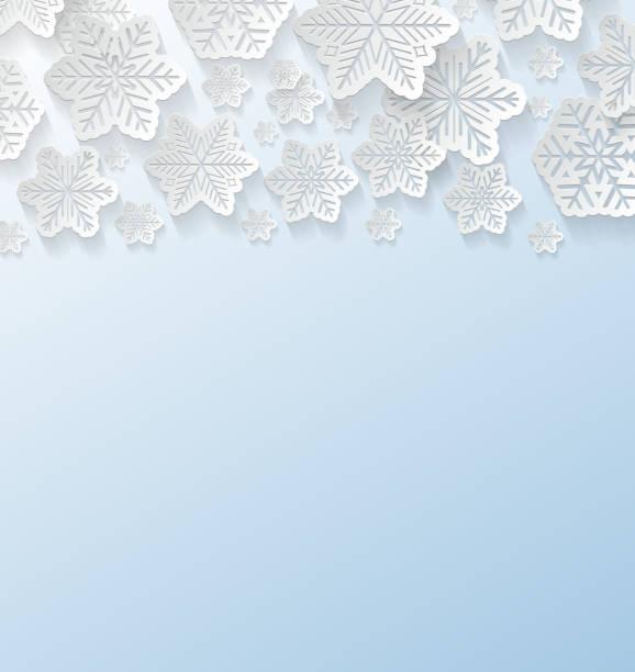 ilustraciones, imágenes clip art, dibujos animados e iconos de stock de copos de nieve de papel blanco sobre fondo azul. vector. - adviento