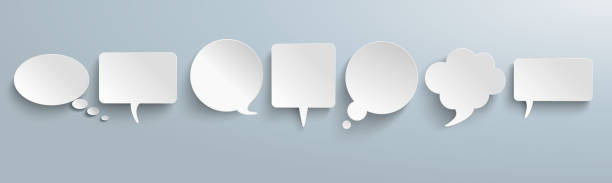 White Paper Speech Bubbles Gray Header White paper communication bubbles on the gray background. Eps 10 vector file. speech bubble stock illustrations