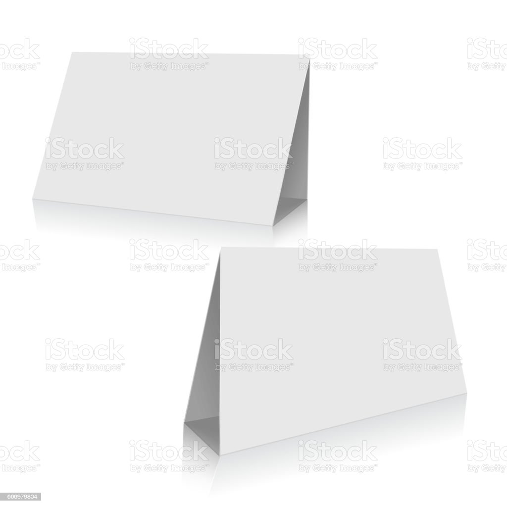 White Paper Stand Table Tag Flyer Vector Design Template Stock