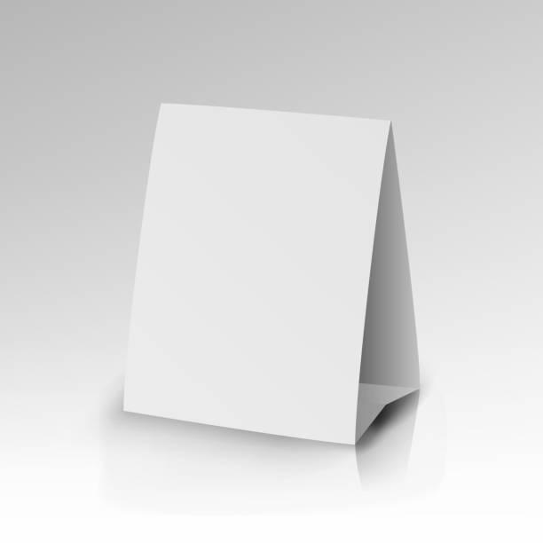 white paper stand tisch tag flyer vektor - menu card stock-grafiken, -clipart, -cartoons und -symbole