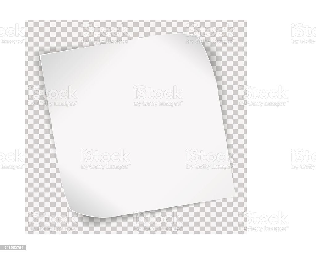 White paper sticker over transparent background vector art illustration