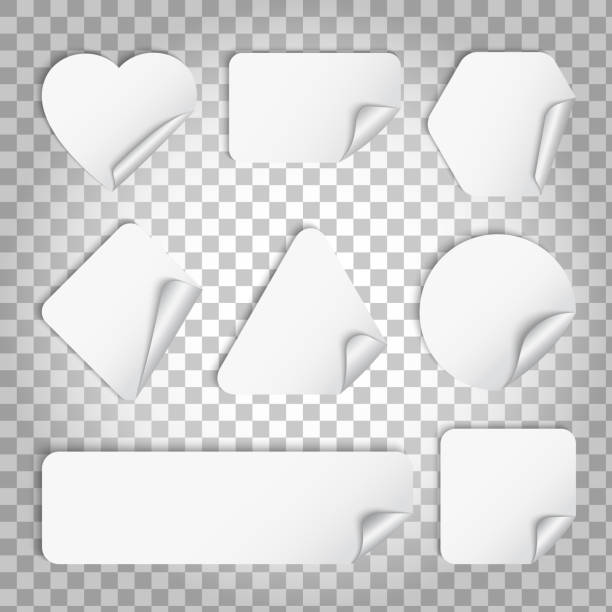 white paper sticker with curl and shadow - naklejka stock illustrations